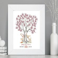 Christening/Naming Day Fingerprint Tree With Woodland Animals - Guest Book Alternative - Baby Gift